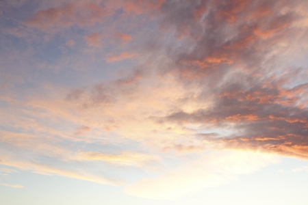 cloudscape: Orange and blue colors in sunset