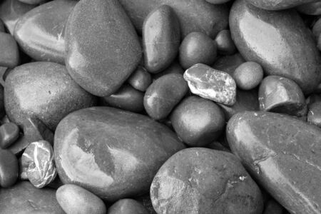 Pebble Beach: Closeup of assorted smooth stones