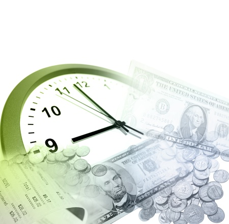 Clock, coins and banknotes  Time is money concept Stock Photo - 12523102