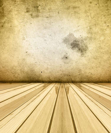 Wooden floorboards and concrete wall Stock Photo - 12931037