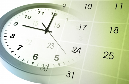 up date: Clock face and calendar composite Stock Photo