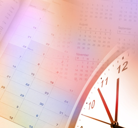 Clock face and calendar pages Stock Photo - 12876453