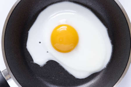 Closeup of egg in frying pan Stock Photo - 12876289