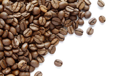 Closeup of coffee beans on plain background Stock Photo - 12876272