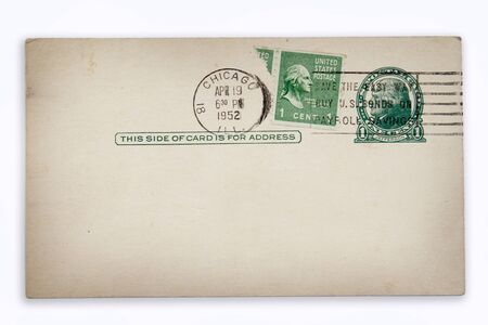 Stamps and postmarks on old postcard