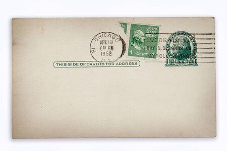 nostalgic: Stamps and postmarks on old postcard