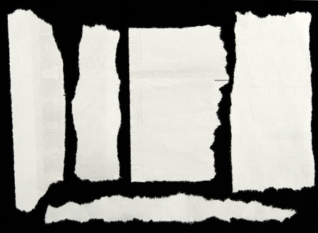 gescheurd papier: Stukjes gescheurd papier op zwart