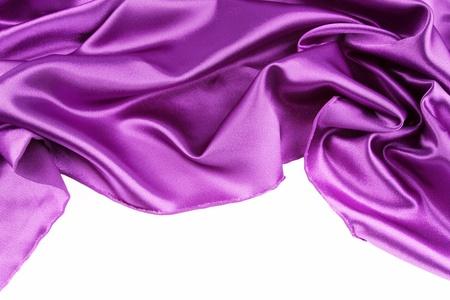 purple silk: Purple silk fabric on plain background Stock Photo
