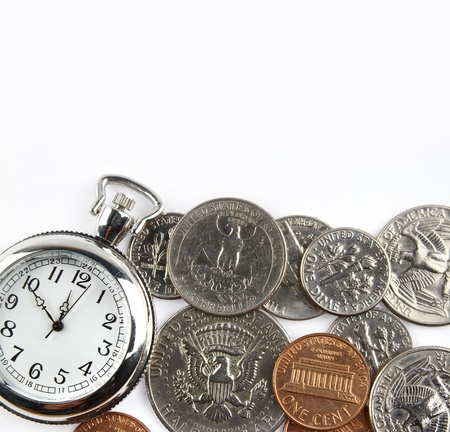save time: Pocket watch and coins on plain background. Time is money concept