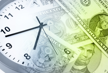 money time: Clock and banknotes. Time is money concept