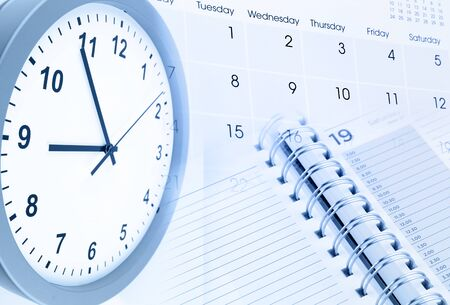 time of the year: Clock face, calendar page and diary Stock Photo
