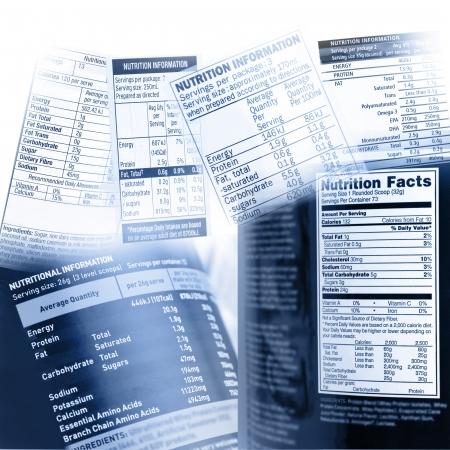 nutrici�n: Informaci�n nutricional en las etiquetas de una variedad de