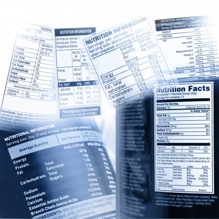 facts: Nutrition information on assorted labels Stock Photo