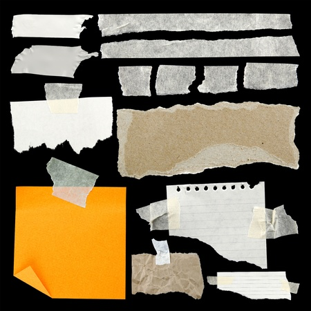 sellotape: Pieces of torn paper and adhesive tape on black