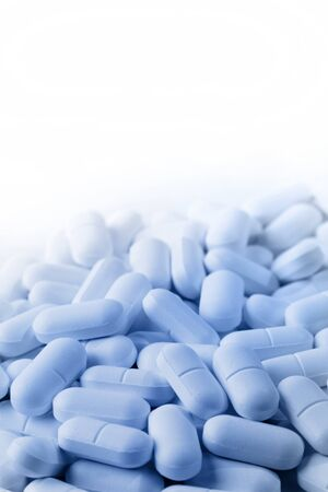 painkillers: Closeup of pills, copy space Stock Photo