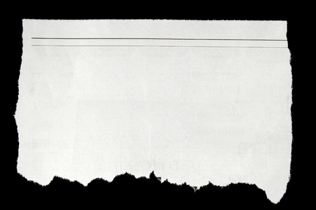 newsprint: Torn paper on black background