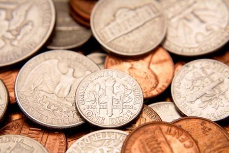 Closeup of American coins photo