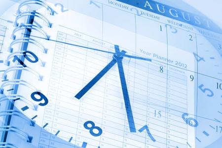 Page cadran de l'horloge, agenda et calendrier Banque d'images