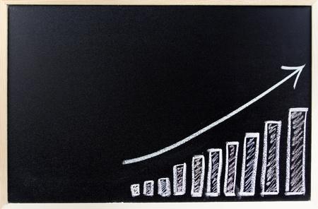 upward graph: Bar chart on blackboard  Sales growth