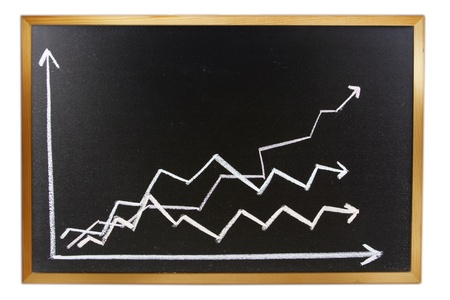 trending: Arrows and lines on blackboard  Sales growth Stock Photo