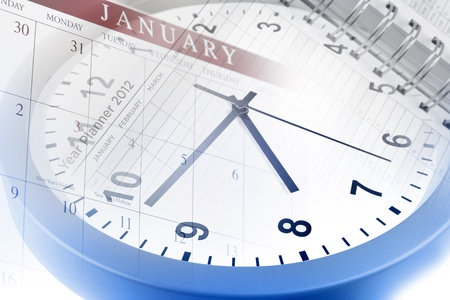 Clock, calendar page and diary photo