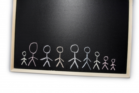 People drawn in chalk on blackboard photo