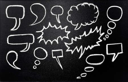 Speech bubbles drawn in chalk on blackboard Stock Photo - 13660131