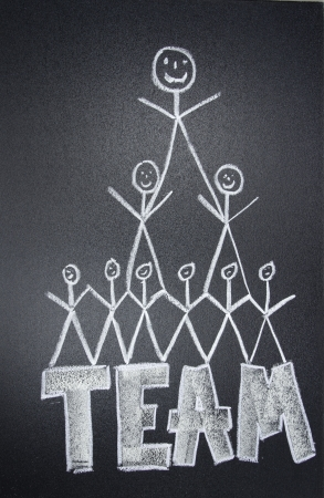 teams: People team drawn in chalk on blackboard