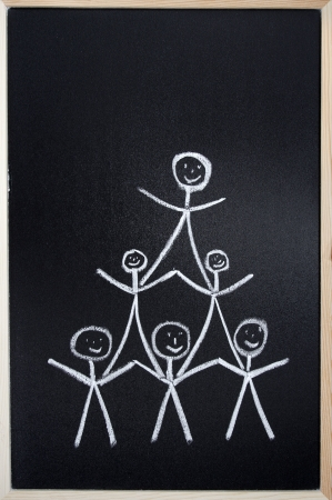 People team drawn in chalk on blackboard photo