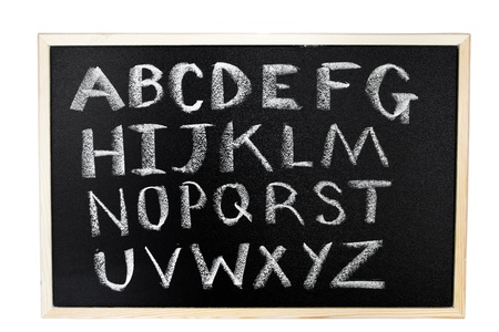 Alphabet drawn in chalk on blackboard photo