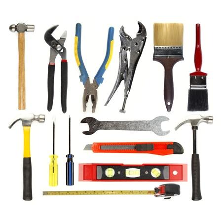 herramientas de carpinteria: Herramientas variadas sobre fondo liso Foto de archivo