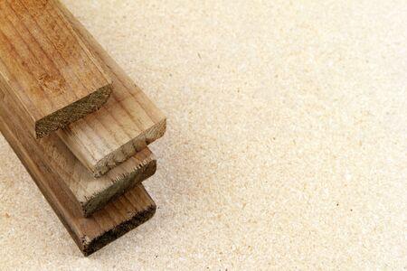 Four pieces of timber closeup  Copy space photo