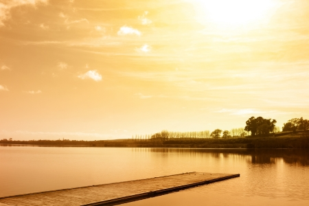 new scenery: Boat jetty on calm lake, New Zealand
