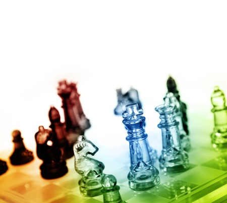 successful strategy: Game of glass chess pieces Stock Photo