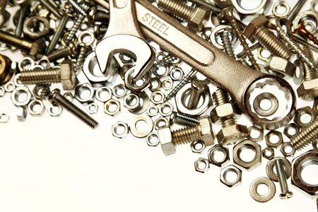 fasteners: Two spanners on nuts and bolts