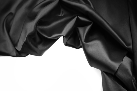 black silk: Closeup of silk fabric on white Stock Photo