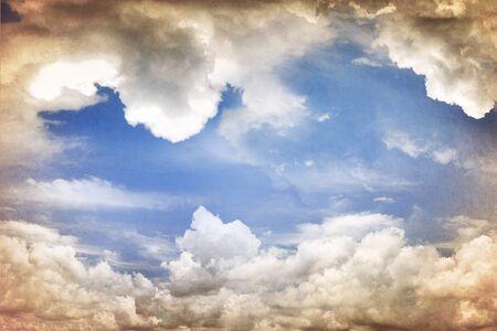 cumulus cloud: Grungy clouds in sky  Copy space Stock Photo