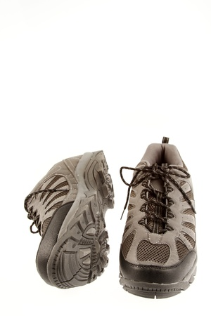 Pair of running shoes on plain background Stock Photo - 14435967