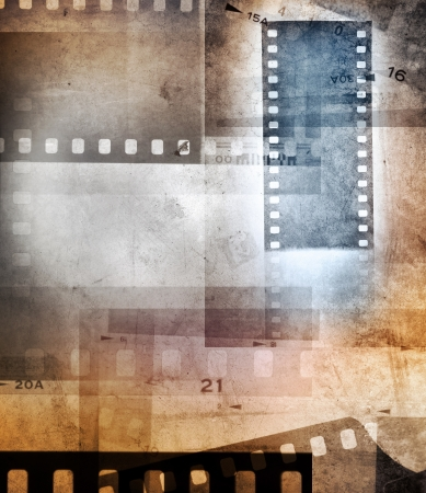 Grungy film negative background, copy space photo