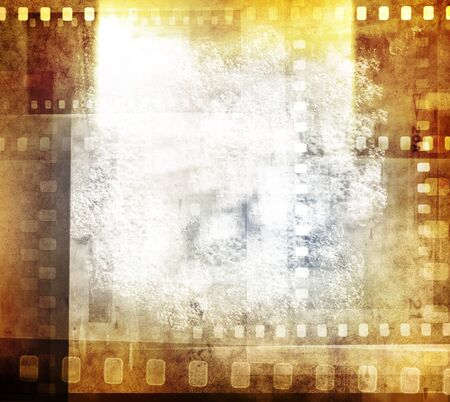 Grungy film negatives background, copy space photo