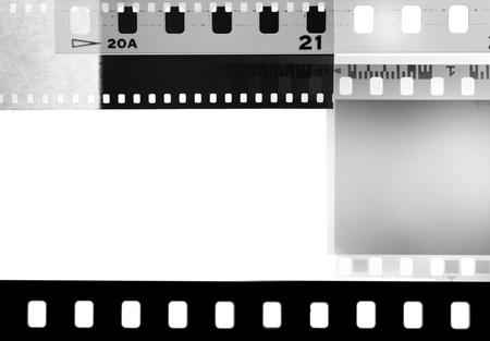 negatives: Film negatives overlapping, black and white
