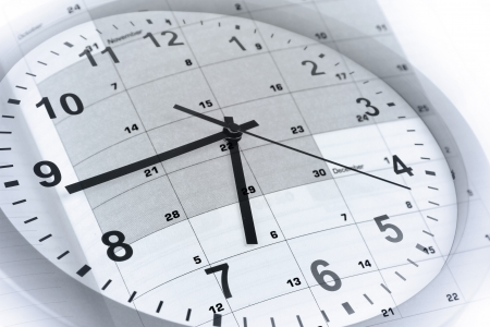 Clock face and calendar page Stock Photo - 14536149