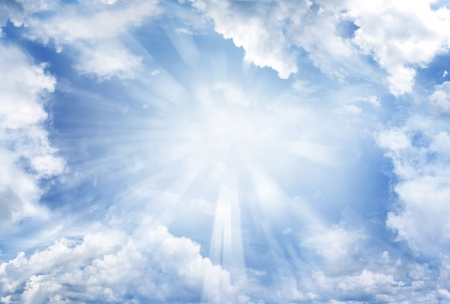 cumulus: Bright sun in cloudy sky. Copy space Stock Photo