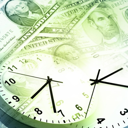 time money: Clocks and banknotes  Time is money concept