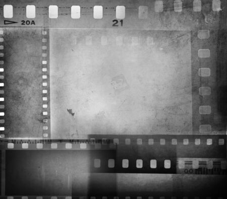 photo montage: Film negatives overlapping, copy space