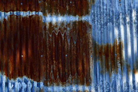 Closeup of rusted corrugated steel photo