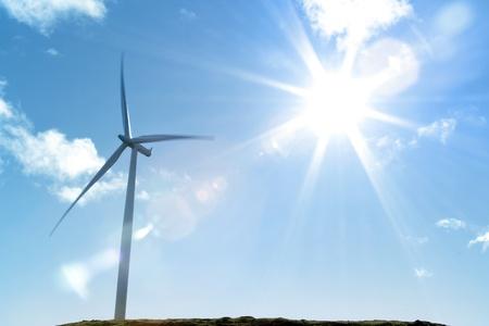 Wind turbine and bright sunlight photo
