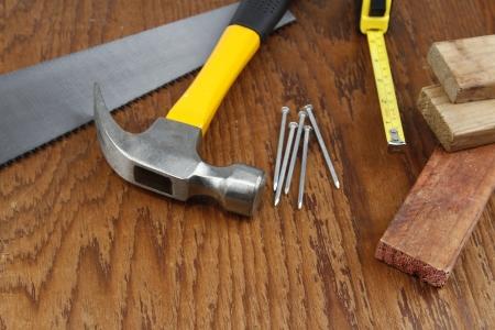 hardware repair: Various work tools closeup on wood Stock Photo