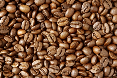 beverage in bean: Closeup of roasted coffee beans Stock Photo