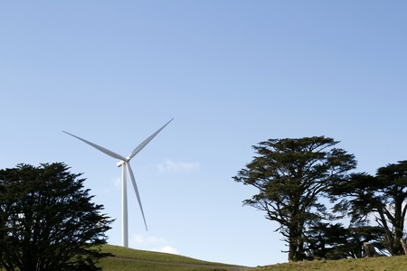 Wind turbine on hill between trees  photo